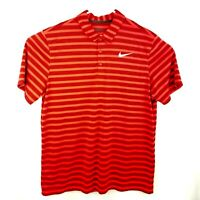 Nike Mens Size XL Dri Fit Red Striped Golf Polo Shirt Standard