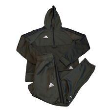 Adidas Kids Boys Khaki Hooded 1/4 Zip Tracksuit Jacket 11-12Yrs Pants 9-10Yrs
