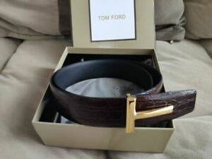 Tom Ford   Red T Buckle Crocodile Leather Belt 90 cm 36 US