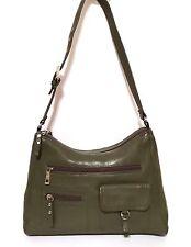 STONE MOUNTAIN Olive Green Pebbled Leather Hobo Satchel Handbag