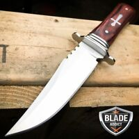 """8"""" STAINLESS STEEL CELTIC CROSS HUNTING KNIFE WOOD HANDLE Gothic Skinning"""