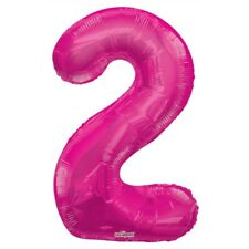 """Large Jumbo Pink Metallic Number 2 Foil Helium Balloon 34""""/87cm (Not Inflated)"""