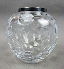 "Top quality vintage Wilhelm Binder WTB 925 silver mount CRYSTAL GLASS VASE. 4"""