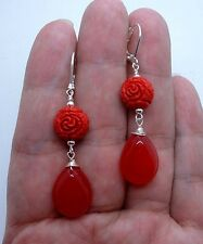 Smooth Ruby Red Chalcedony W. Carved Red Cinnabar Sterling  Silver Earrings
