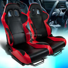 FULL RECLINABLE LEFT+RIGHT PAIR RED/BLACK TRIM PVC LEATHER BUCKET RACING SEATS