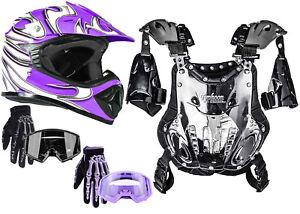 Youth Kids Chest Protector Helmet Purple DOT Motocross Dirtbike Combo ATV