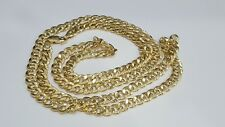 10k Yellow Gold Cuban Link Chain Necklace 30 Inches 7 mm Men Women Unisex