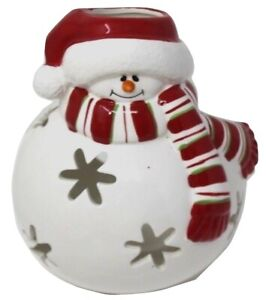 """Vintage  Large Christmas Snowman Candle Luminary 7""""H"""