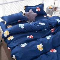 New Mushroom Printing Bedding Set Duvet Quilt Cover+Sheet+Pillow Case Four-Piece