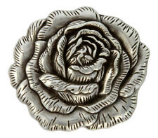 "Western Equestrian Tack Antique Silver Rose 1 1/2"" Concho's Set of 6"