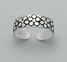 Tjs 925 Sterling Silver Daisy Flower Band Design Toe Ring Adjustable Jewellery