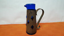 Vintage Gothic Cobalt Blue Glass and Rusty Iron Ewer Pitcher Jug Unique
