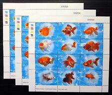 LAOS 2002 Gold Fish Sheetlet of 12 U/M PLEASE SEE BELOW NB2040