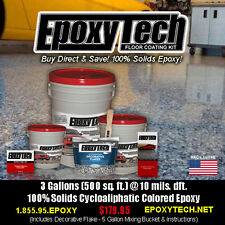10% OFF SALE! 100% SOLID EPOXY FLOOR COATING PAINT KIT(2.5 Garage-500SF) w/Flake