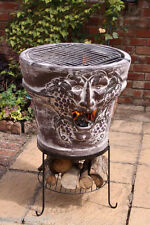 LARGE Clay Fire Pit Fire Bowl BBQ Combi Chimenea Patio Heater and BBQ Firepit