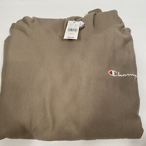 Mens Champion Reverse Weave Dark Khaki Hoodie Sz S RW $60 NEW Tan Spell out logo