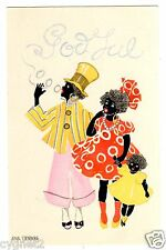 POSTCARD SWEDISH CHRISTMAS BLACK FAMILY AINA STENBERG