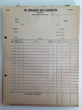 1936 Studebaker Sales Corporation of America parts order and invoice form