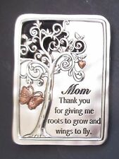 bb Mom thanks for giving me roots grow wings fly FAMILY TREE MAGNET PLAQUE Ganz