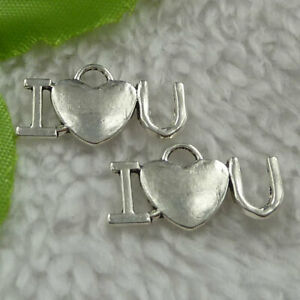 Free Ship 240pcs tibet silver i love you and heart charms 22X12mm B3253