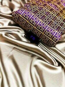 Designer Bollywood Wedding Party Wear Satin Plain Simple Sari Ethnic Indian RN