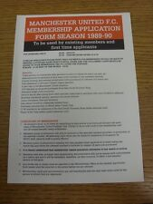 1989/1990 Manchester United: Official Membership Application Form For Season 198
