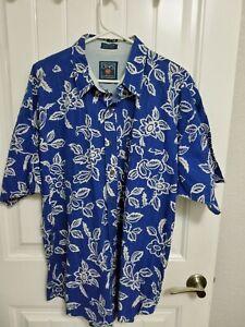 Vintage Chaps RALPH LAUREN HAWAIIAN camp shirt Floral blue size XL 100 % COTTON