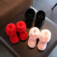 Kids Casual Rabbit Bowknot Ankle Boots Girls Winter Warm Snow Boots Child Shoes