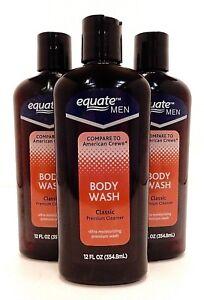 3 EQUATE FOR MEN BODY WASH DEODORANT CLEANSER 12oz / 354.8ml NEW!