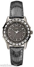 Guess Ladies Black Leather Strap Black Dial Crystals on Bezel Watch W0019L2