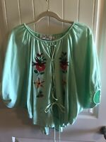 VaVa by Joy Han Womens Embroidery Top Size Small Green Made In USA 🇺🇸 Quality