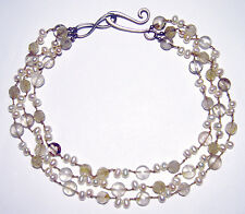 Chic RUTILATED QUARTZ/PEARL Hand Knotted ARTISAN NECKLACE Hand Wrought 925 CLASP