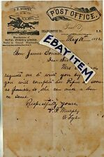 1882 LETTERHEAD Charleston County SOUTH CAROLINA POST OFFICE MASTER P M Murphy