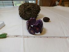 Tagua vegetable ivory Palm nut purple grape bracelet stretch handmade hearts