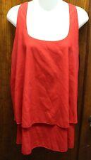 ALSA Red Razor Back Sleeveless Ruffled Dressy Tank Large