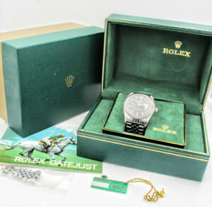 ROLEX DATEJUST 16030 GENTS 36MM STAINLESS WRIST WATCH GREY TAPESTRY DIAL- 3497-4