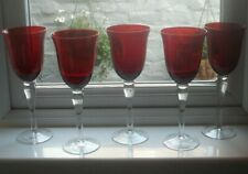 5 large, wine glasses, red bowls, 250 ml
