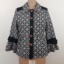 Billabong Women's Jacket SZ 12 Black Cream 3/4 Sleeves Peplum Hem Great Coat!