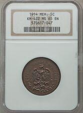 MEXICO ESTADOS UNIDOS 1914  5 CENTAVOS COIN CERTIFIED UNCIRCULATED NGC MS65-BN