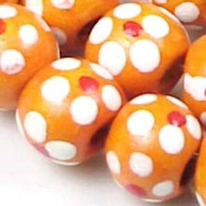 """10mm Orange Spring / Summer floral Wood Beads rondelle 16"""""""