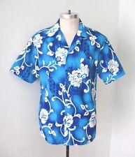 Vgc Vtg 60s 70s Pomare Blue Silky Polyester Mod Floral Hawaiian Surfer Shirt L