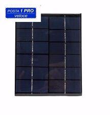 Mini Pannello solare fotovoltaico 6V 2W 330mA  monocristallino 136 x 110 x 3 mm