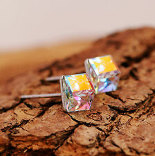 Clear AB Crystal Sterling Silver Stud Earrings Use Swarovski Element 3D Cube New
