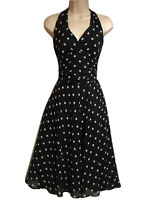 Black Polka Dot UK 12 Dress Halter Neck Fit & Flare Marylin 50s Evening Party