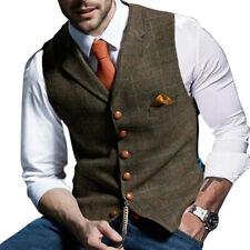 Hombre Formal Chaleco Tweed Espiguilla Vintage Traje Cuello En V Tops