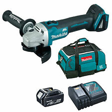 MAKITA 18V DGA454 ANGLE GRINDER BL1840 BATTERY DC18RC CHARGER & 4 PIECE BAG