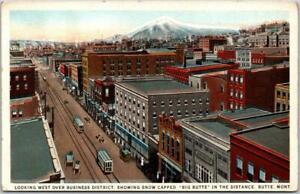 1930s BUTTE, Montana Postcard Bird's-Eye Downtown Street Scene Curteich Unused