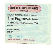 POGUES Liverpool Royal Court 1992 Used Ticket Stub 3x3 inches