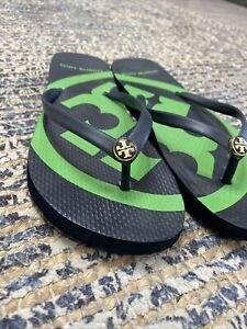 Tory Burch Size 9 - Blue & Green Monogrammed Flip Flops Sandals