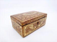 Ancien petit coffret boite à bijoux en cuir doré au petit fer debut XIXeme